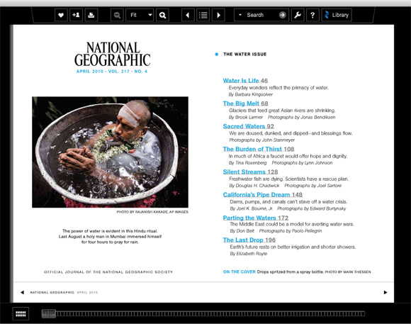 Screenshot of National Geographic's Water Edition using Zinio Reader 4