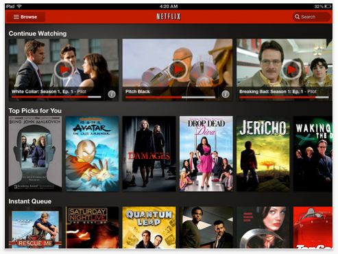Sample screenshot of Netflix 2.0 iOS app