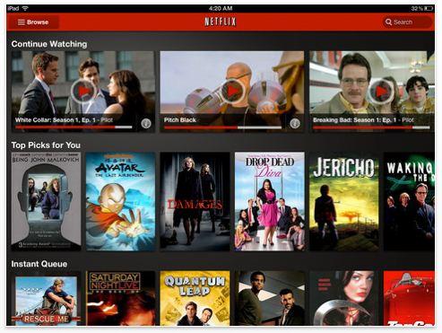 Sample screenshot of Netflix 2.0 iOS app