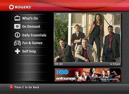 Rogers Quickstart Main Menu