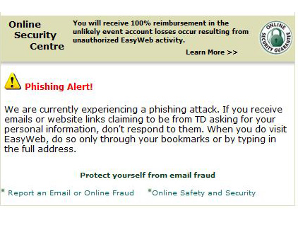 Td Warns Easyweb Customers Of A Phishing Attack Canadian Tv Computing And Home Theatre Forums