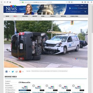 Bell Technical Solutions van crash in Kitchener at Edna & Frederick Street